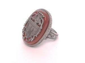 DRACULA Crest RING carnelian bloodstone ANTIQUE GOLD